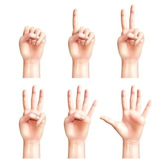Sześć gestów realistycznych ludzi z palcami liczącymi od zera do pięciu na białym tle