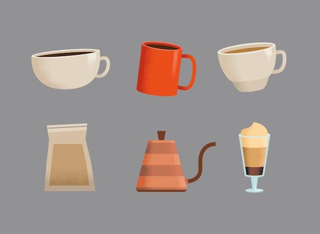 Sześć ikon napojów kawowych