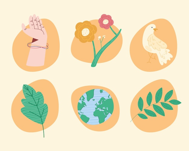 Sześć ikon pokoju na świecie