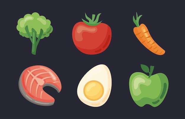 Sześć ikon zdrowej żywności