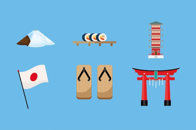 Sześć Ikon Zestawu Japońskiej Kultury Premium Wektorów