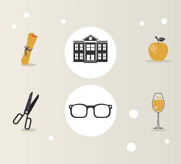 Sześć ikon zestawu uroczystości ukończenia szkoły