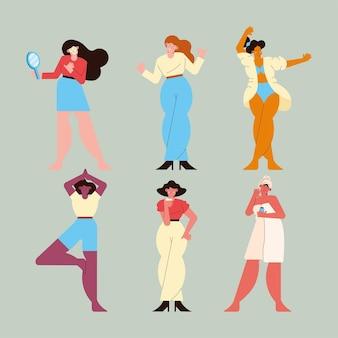 Sześć kobiet dbających o siebie postaci
