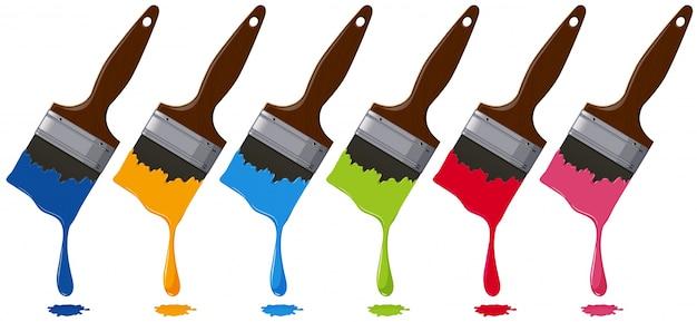 Sześć kolorów na paintbrushes
