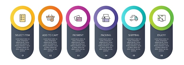Sześć kolorowych elementów graficznych do procesu zakupowego kolejnych kroków z ikonami i tekstem