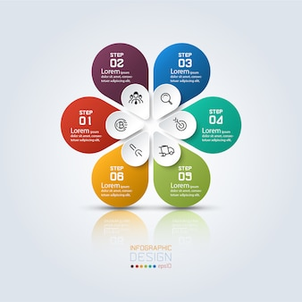 Sześć kolorowych infografik o owalnym kształcie w okręgu.