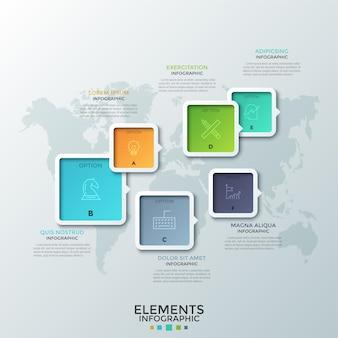 Sześć kolorowych kwadratowych elementów o różnej wielkości ze strzałkami lub wskaźnikami, cienkimi symbolami linii i literami w środku umieszczonymi na mapie świata. szablon projektu kreatywnych plansza. na stronie internetowej.