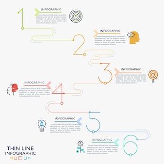Sześć kolorowych liczb lub cyfr połączonych w wykres liniowy z ikonami cienkiej linii i miejscem na tekst. koncepcja 6 kroków progresywnego rozwoju. szablon projektu plansza. ilustracja wektorowa