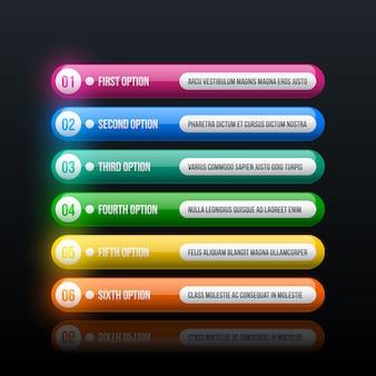 Sześć kolorowych opcji w czystym stylu hi-tech