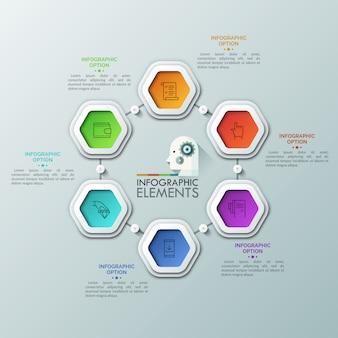 Sześć kolorowych sześciokątów z cienkimi piktogramami wewnątrz umieszczonych wokół środka i połączonych liniami i przyciskami odtwarzania. 6 kroków procesu cyklicznego.