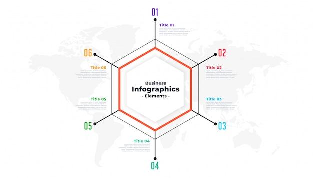 Sześć kroków cienka linia biznes infographic szablon prezentacji