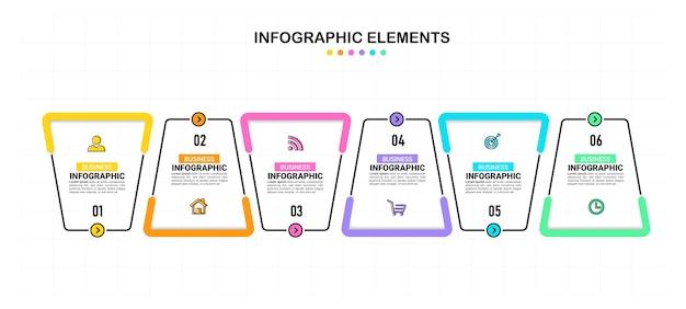 Sześć kroków infografiki biznesowe