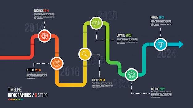 Sześć kroków na osi czasu lub kamień milowy infografikę wykresu.