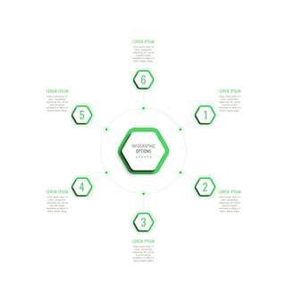 Sześć kroków okrągły szablon infografiki z zielonymi sześciokątnymi elementami na białym tle