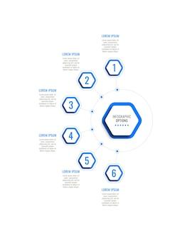 Sześć kroków pionowy szablon infografiki z niebieskimi sześciokątnymi elementami na białym tle