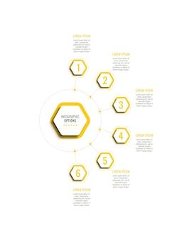 Sześć kroków pionowy szablon infografiki z żółtymi sześciokątnymi elementami na białym tle