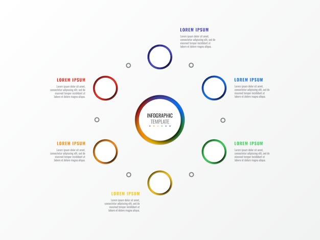 Sześć kroków układ infographic szablon z okrągłymi 3d realistycznych elementów. schemat procesu dla broszury, baneru, raportu rocznego