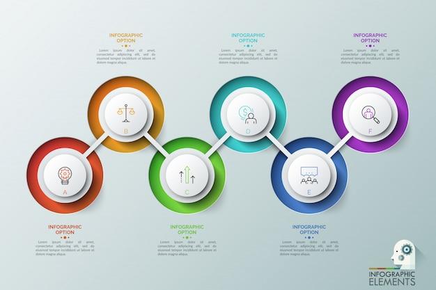 Sześć okrągłych elementów z literami i liniowymi ikonami wewnątrz połączonych zygzakowatą linią. kolejne kroki koncepcji rozwoju biznesu.