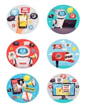 Sześć okrągłych ikon botów spamowych