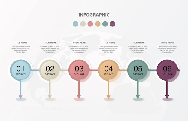 Sześć okręgów infografie dla obecnej koncepcji biznesowej.