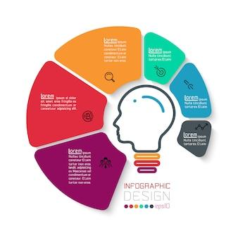 Sześć okręgów z biznesowym ikony infographics.