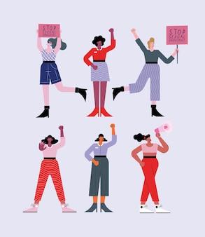 Sześć osób protestujących przeciwko molestowaniu seksualnemu