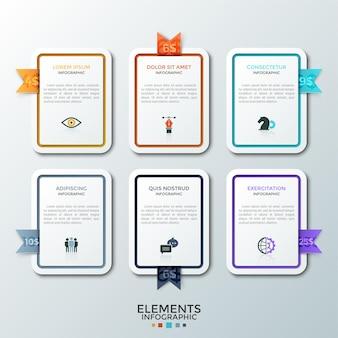 Sześć papierowych białych prostokątnych elementów lub kart z płaskimi ikonami, miejscem na tekst wewnątrz i kolorowymi metkami. koncepcja 6 planów abonamentowych. szablon projektu nowoczesny plansza.
