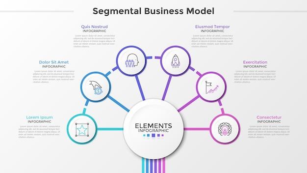 Sześć papierowych okrągłych elementów z symbolami cienkich linii wewnątrz otacza główny okrąg pośrodku. koncepcja segmentowego modelu biznesowego z 6 krokami. szablon projektu nowoczesny plansza. ilustracja wektorowa.