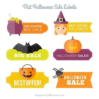 Sześć płaskich etykiety zniżki na halloween
