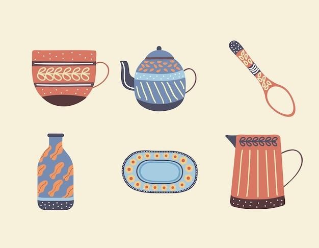 Sześć porcelanowych naczyń stołowych