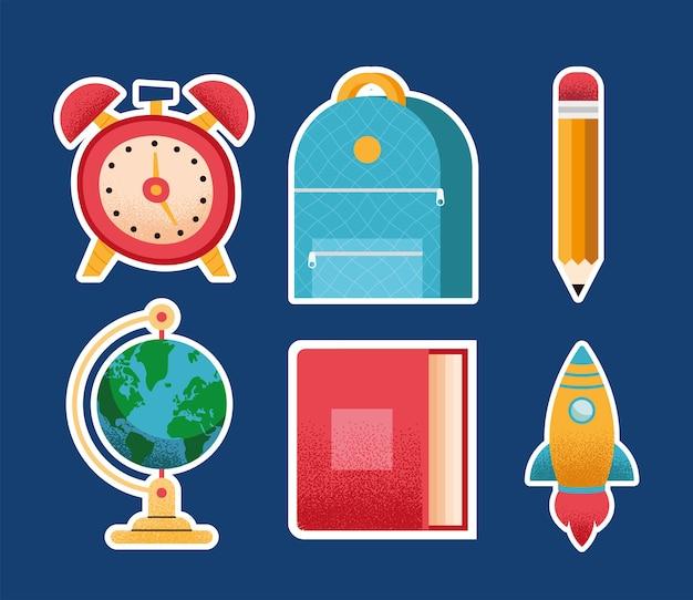 Sześć przyborów szkolnych zestaw ikon