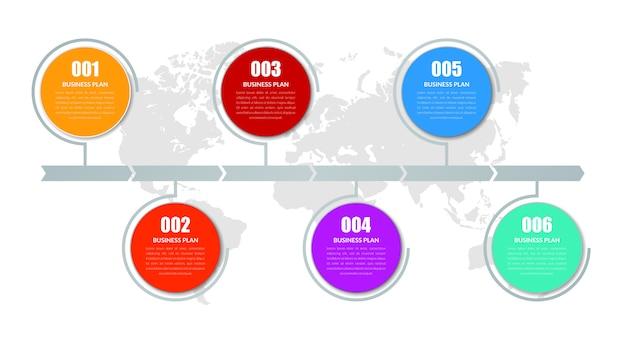 Sześć punktów streszczenie plansza element strategii biznesowej