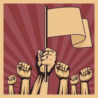 Sześć rąk protestujących przeciwko ikonie rewolucji
