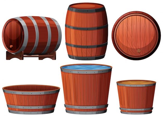 Sześć różnych drewnianych ilustracji barrell