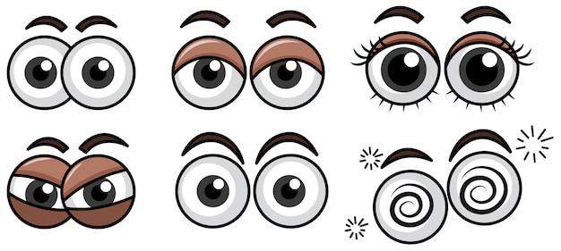 Sześć różnych wyrazów oczu na białym tle