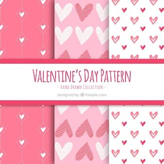 Sześć różowych wzorów valentines day