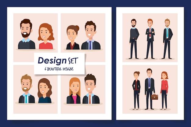 Sześć scen ludzie biznesu wektorowego ilustracyjnego projekta