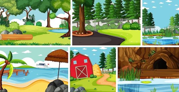 Sześć scen przyrodniczych z różnymi lokalizacjami