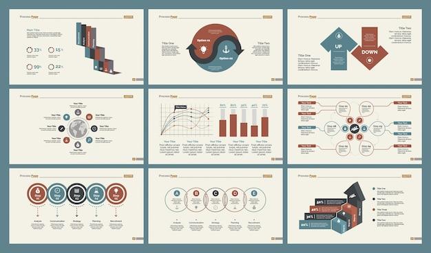 Sześć schematów szkoleń zestaw szablonów slajdów