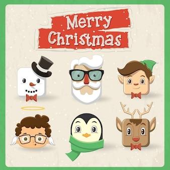Sześć słodkie christmas projektu charakter głowy