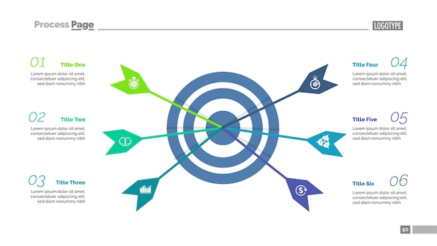 Sześć strzałek trafiających szablon docelowego szablonu procesu. wizualizacja danych biznesowych.