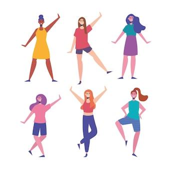 Sześć szczęśliwych młodych kobiet znaków ilustracji
