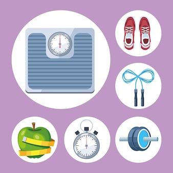 Sześć urządzeń do ćwiczeń fitness