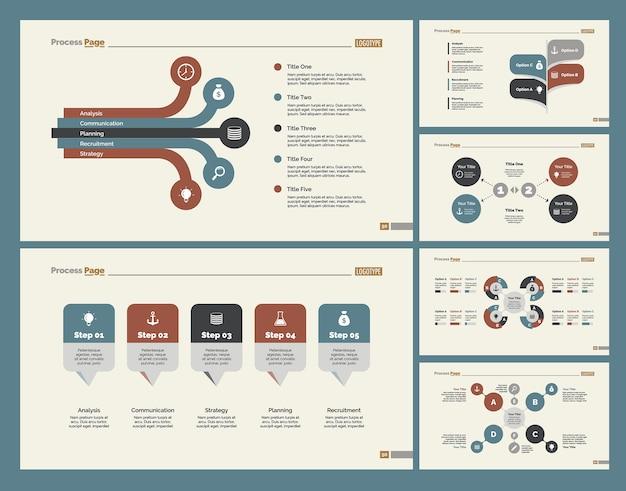 Sześć wykresów konsultingowych zestaw szablonów slajdów