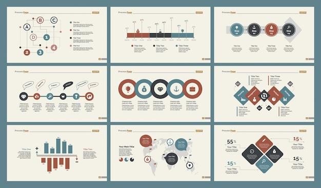 Sześć wykresów logistycznych zestaw szablonów slajdów