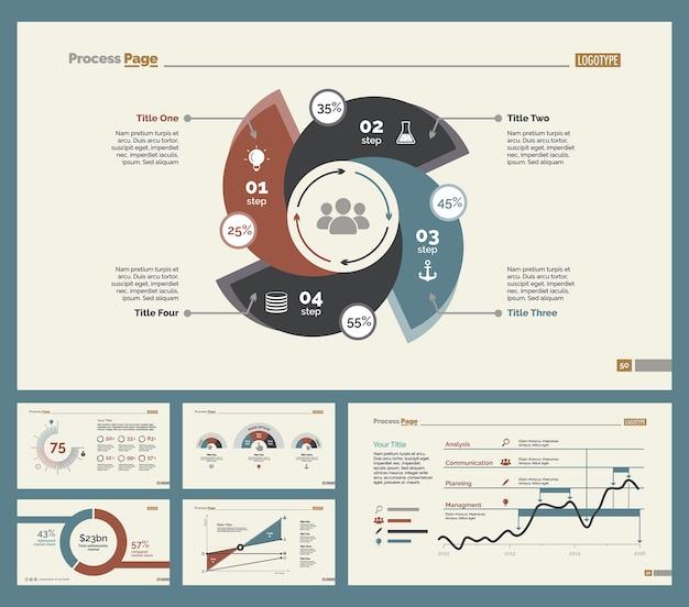 Sześć wykresów statystyk zestaw slajdów szablonów