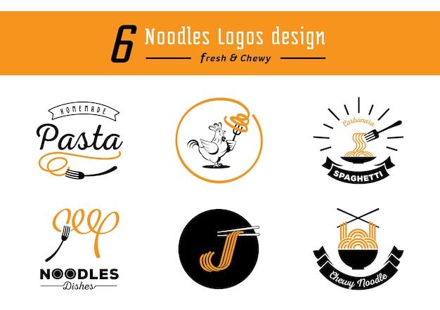 Sześć wzorów logo kluski z żółtym makaronem do żucia