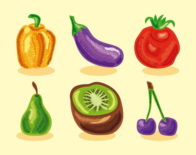 Sześć zestawów zdrowej żywności