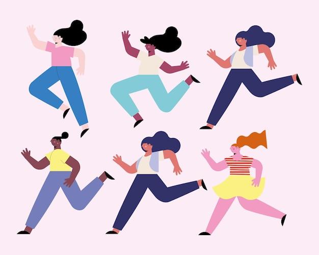 Sześć zróżnicowanych dziewczyn biegających z postaciami