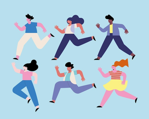 Sześć zróżnicowanych ludzi biegających z postaciami